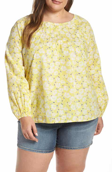 5711702e46bd4 Caslon® Floral Print Pintuck Pleat Top (Plus Size)