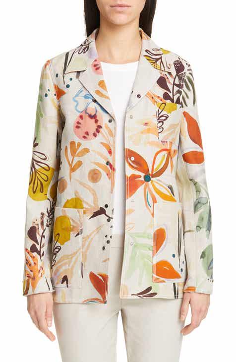 Lafayette 148 New York Jolisa Floral Print Linen Jacket by LAFAYETTE 148