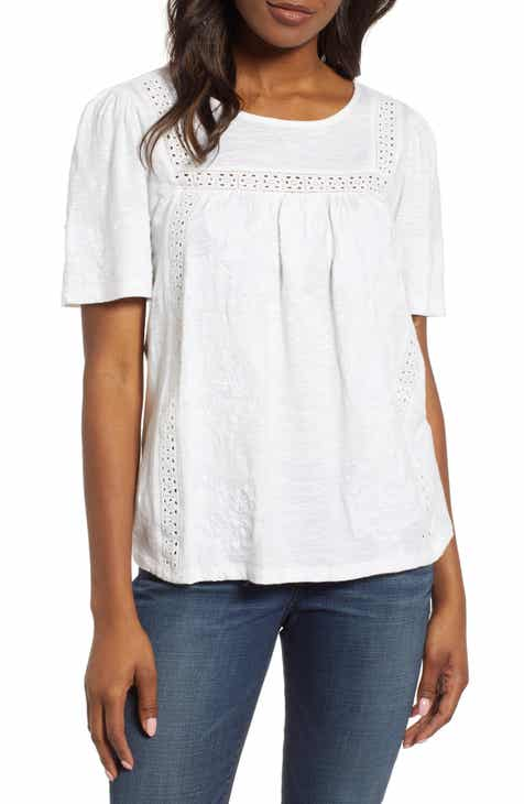 b03a2f1dadd Lucky Brand Embroidered Eyelet Trim Peasant Top