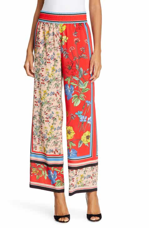 Alice + Olivia Benny Pattern Mix Wide Leg Pants by ALICE AND OLIVIA