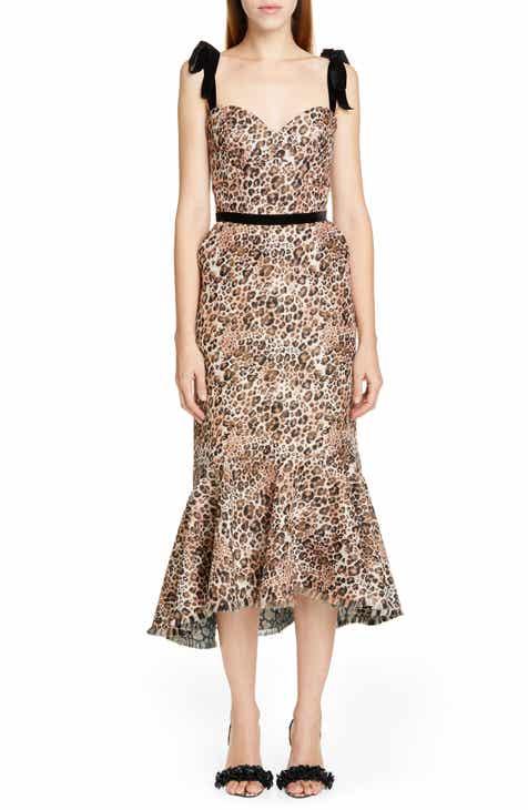 62323793f Johanna Ortiz Jaguar Print Tie Strap Midi Dress