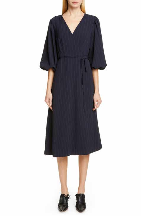 Ganni Heavy Crepe Midi Wrap Dress