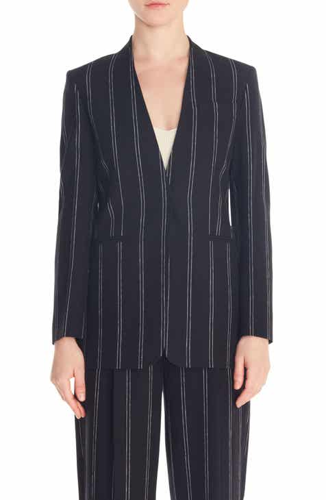 sandro Natanielle Stripe Collarless Linen Blend Blazer by SANDRO