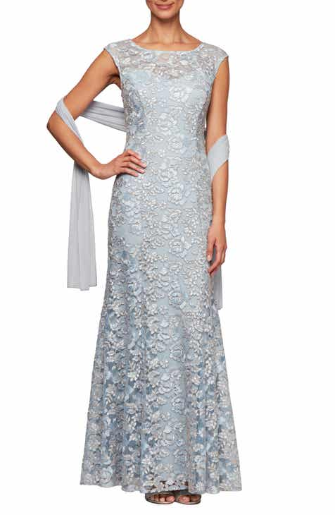 b451564cddc Alex Evenings Floral Embroidered Evening Dress with Wrap (Regular   Petite)