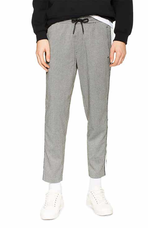 aef38e6b0e68 Topman Marc Check Side Stripe Crop Track Pants