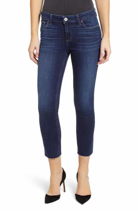 5b443ff975d PAIGE Transcend Vintage - Skyline Raw Hem Crop Skinny Jeans (Greece)