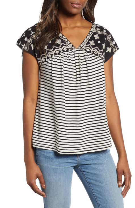 b5c37e022a4 Lucky Brand Embroidered Stripe Top