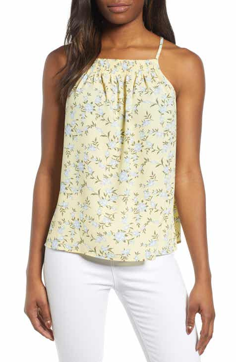 1.STATE Smocked Halter Neck Top