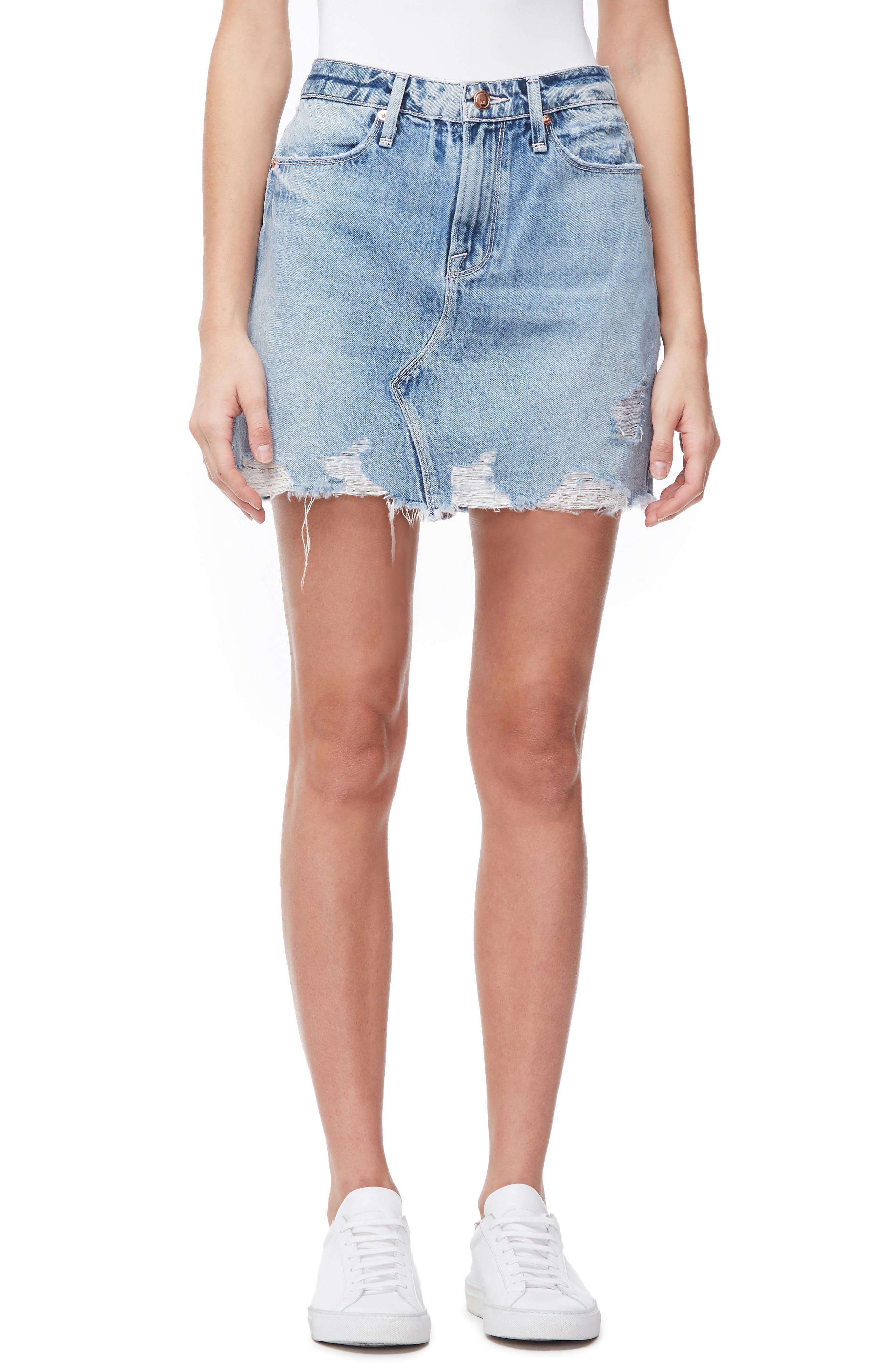 048c0d65 Celebrity Pink Women's Juniors High Waist Distressed Denim Mini Skirt (11,  Black)