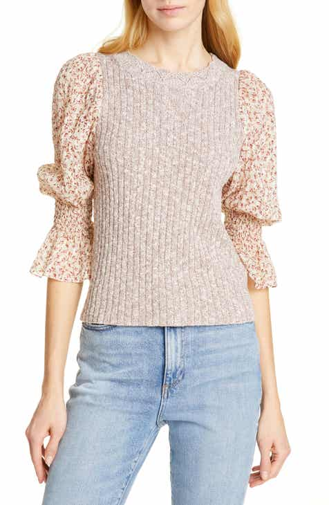Rebecca Taylor Francesca Mix Media Cotton & Linen Blend Sweater by REBECCA TAYLOR