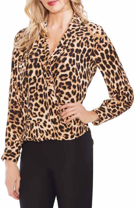b26b032aa55342 Vince Camuto Leopard Notch Collar Blouse
