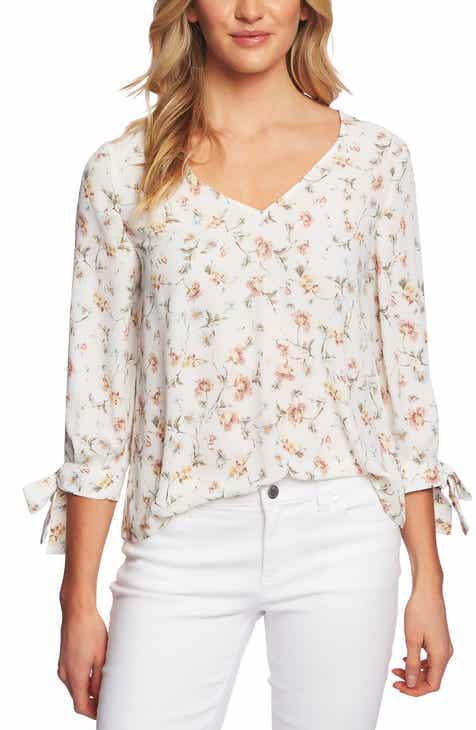 04e58107fd39e8 CeCe Floral Tie Sleeve Blouse