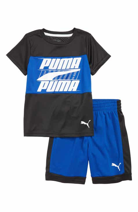 1651f144593d PUMA Logo T-Shirt   Performance Mesh Shorts Set (Toddler Boys)