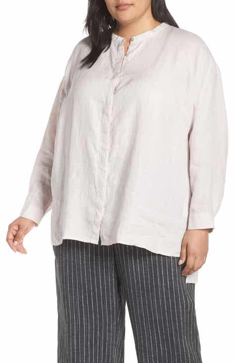 d43ea56c3cd Eileen Fisher Mandarin Collar Boxy Organic Linen Shirt (Plus Size)