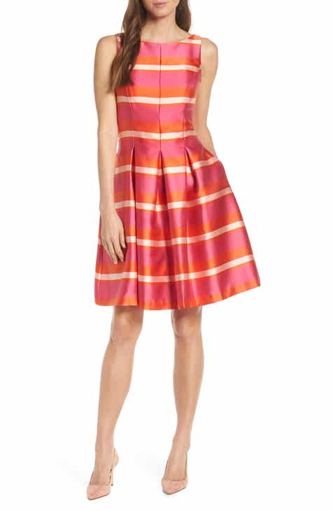 e0fab0d586d 1901 Bow Back Stripe Satin Fit   Flare Dress (Regular   Petite)