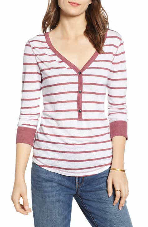 f537f17d83601 Treasure   Bond Henley Detail Linen Top