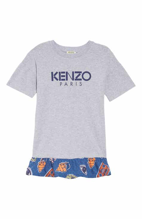88234b4b49df KENZO Ruffle Hem Mixed Media Dress (Little Girls   Big Girls)
