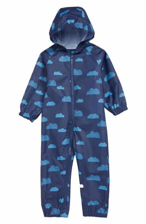 64abef80b9ec Mini Boden Clouds Waterproof Hooded Rain Suit (Baby   Toddler Boys)