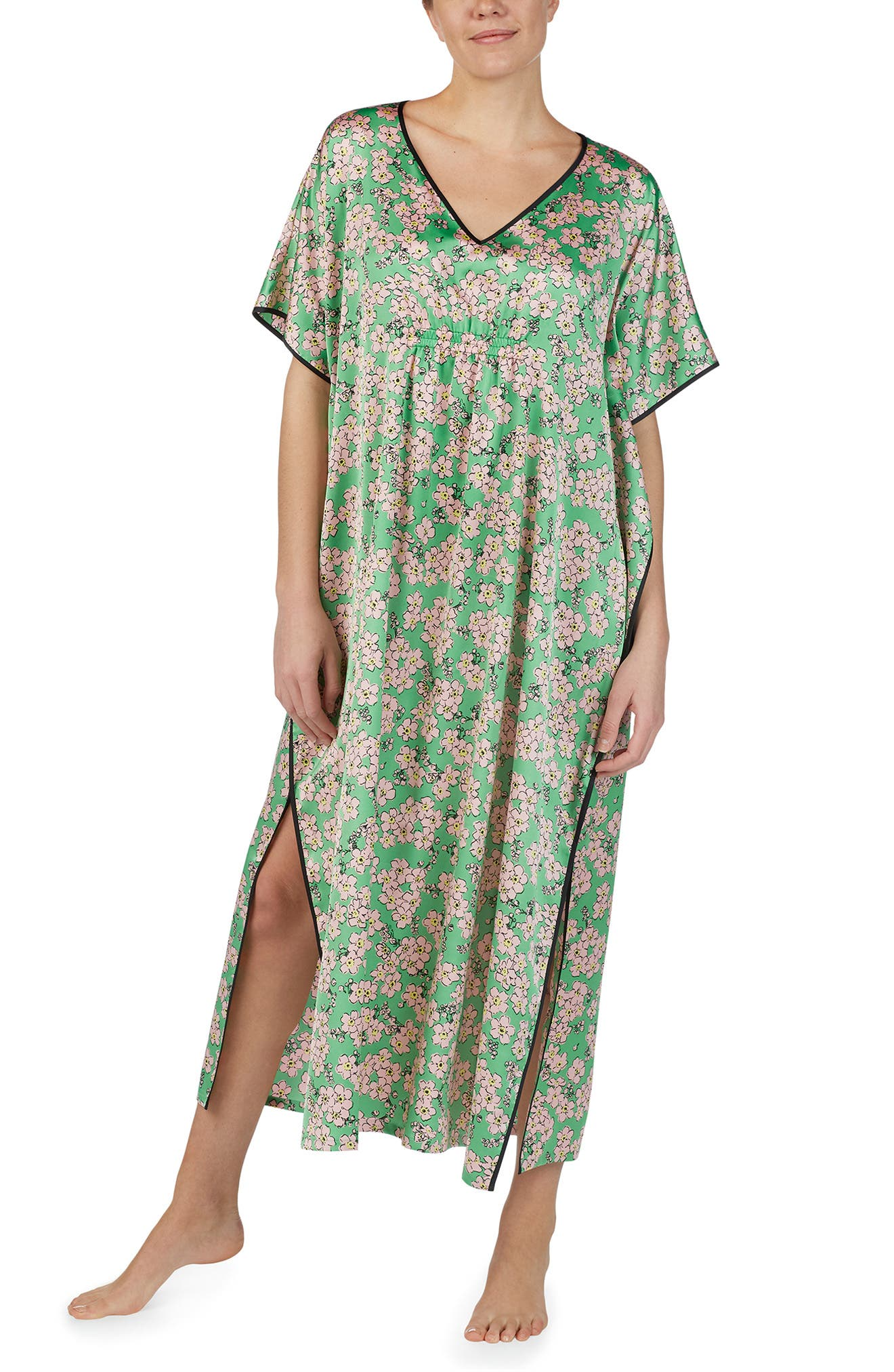 Kate Spade New York Fresh Floral Satin Caftan
