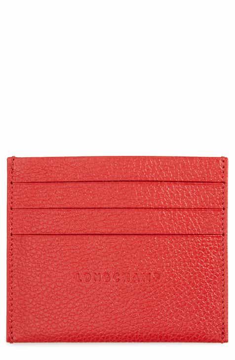 e0e70f1405a416 Longchamp 'Le Foulonne' Pebbled Leather Card Holder