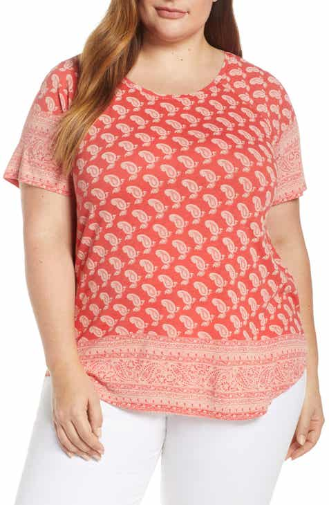 33af35d2ad11b2 Lucky Brand Paisley Border Print Tee (Plus Size)