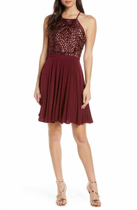 Morgan & Co. Sequin Crossback Fit & Flare Dress