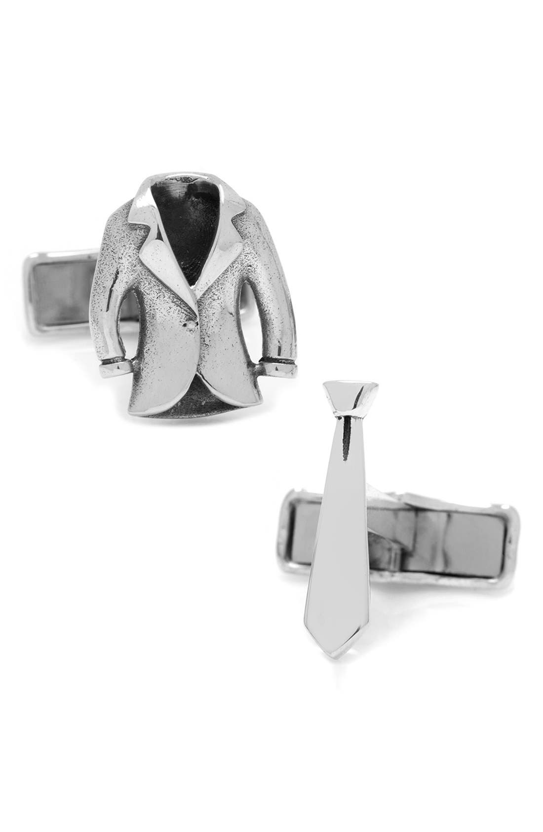 Suit & Tie Cuff Links,                         Main,                         color, Silver