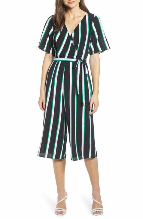 Row A Stripe Double-V Jumpsuit by ROW A