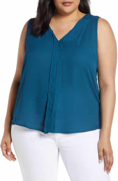 de99d513833e2e Bobeau Alison Pleat Front Mixed Media Top