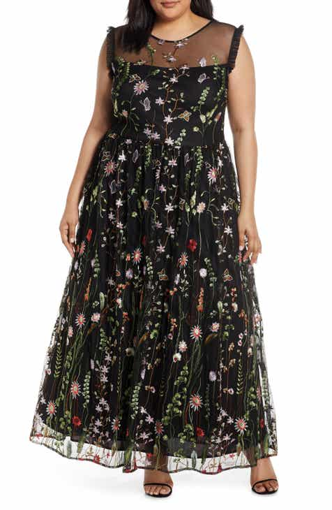 7a9f4effc6d4 Embroidered Mesh Evening Gown (Plus Size)