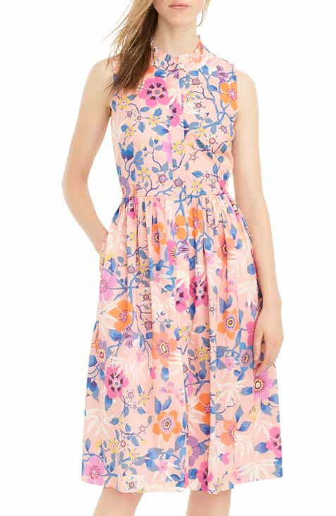bf80aac313f5 J.Crew Liberty Pavilion Floral Print Ruffle Neck Midi Dress