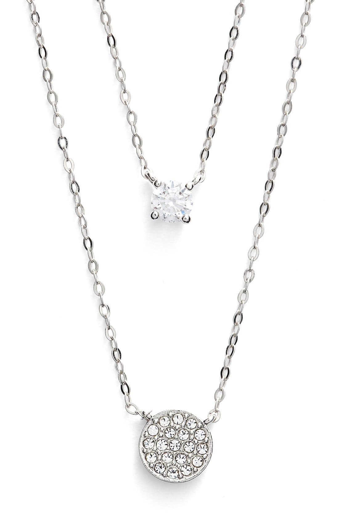Double Pendant Necklace,                         Main,                         color, Silver/ Clear