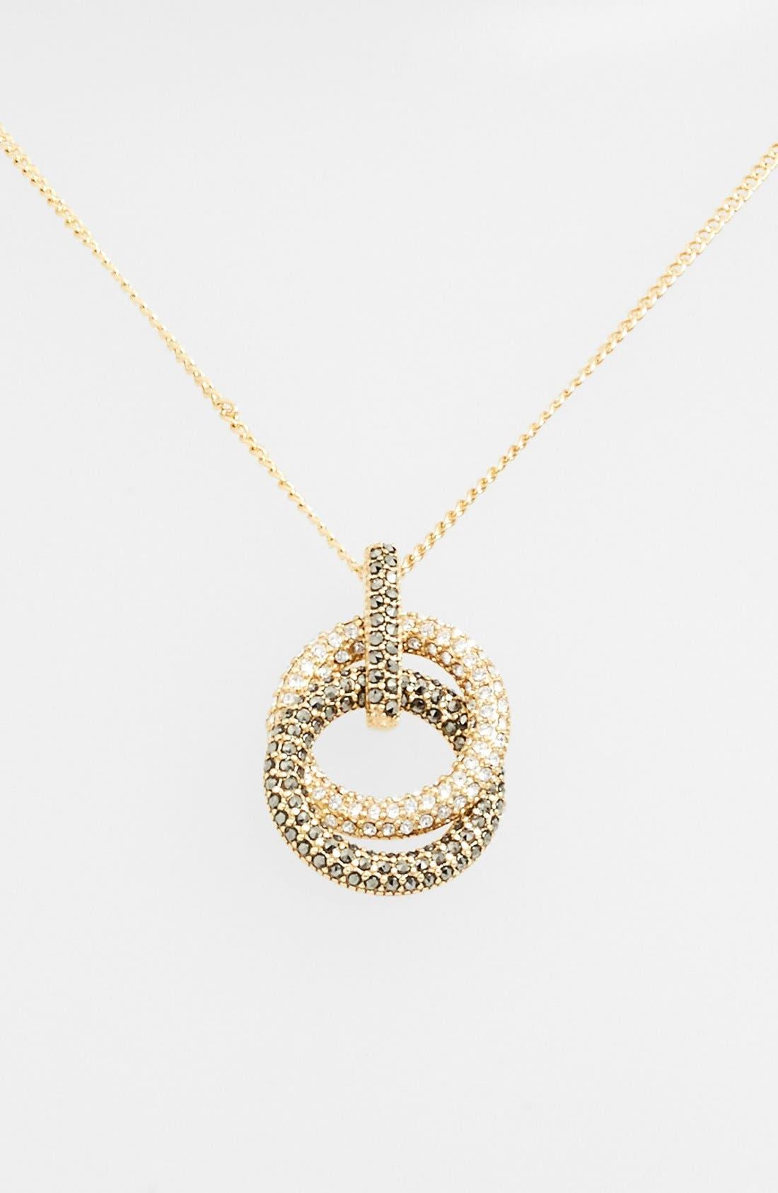 Pavé Double Circle Pendant Necklace,                         Main,                         color, Marcasite/ Crystal/ Gold