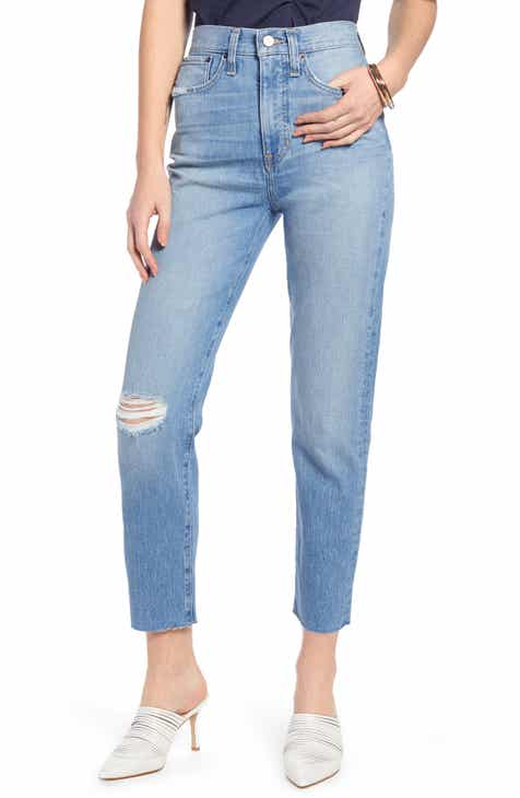 cc91d721b0b8 Something Navy Ripped High Waist Crop Cigarette Jeans (Indigo Vintage Wash)  (Nordstrom Exclusive)