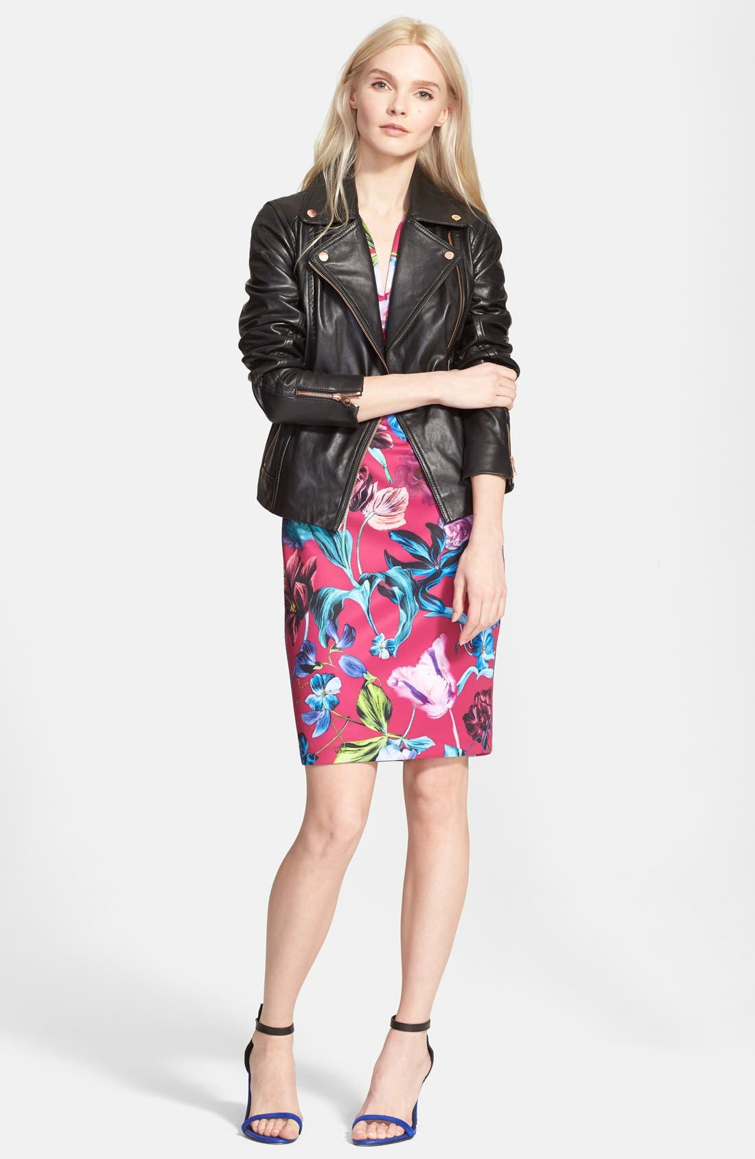 Alternate Image 4  - Ted Baker London 'Riza' Leather Moto Jacket