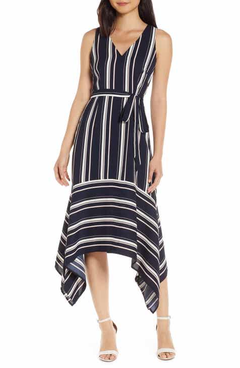 New Design Vince Camuto Handkerchief Hem Stripe Crepe Dress Great Reviews