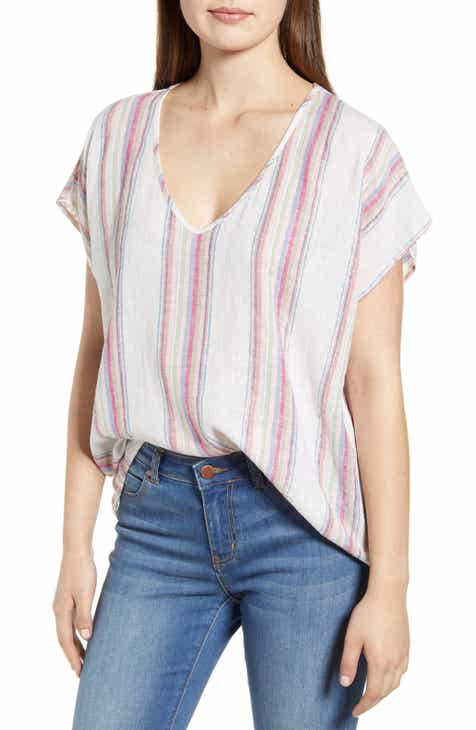 Velvet by Graham & Spencer Metallic Stripe Linen Blend Top