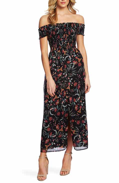 CeCe Smocked Off the Shoulder Midi Dress