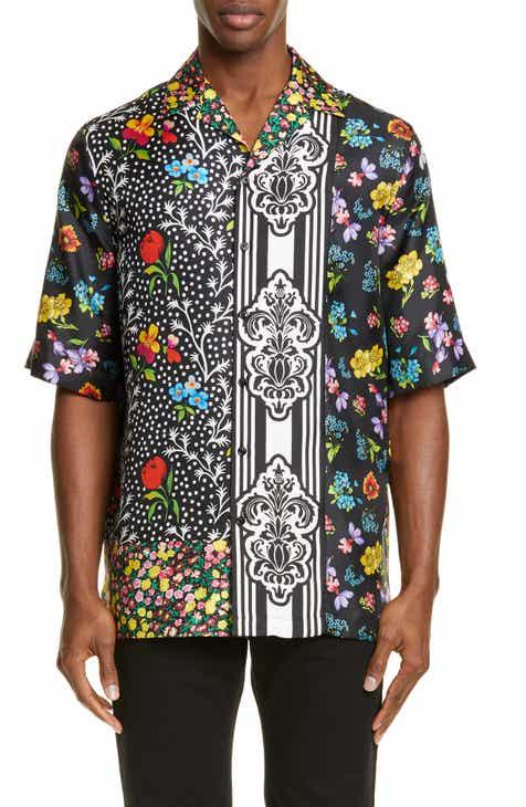 aa8d71ab2e599 Versace Mixed Print Silk Sport Shirt