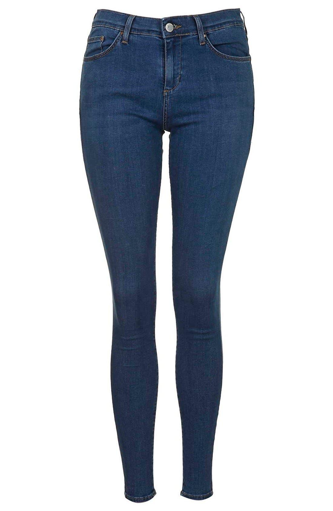 Alternate Image 3  - Topshop Moto 'Leigh' Skinny Jeans (Mid Denim) (Regular & Short)