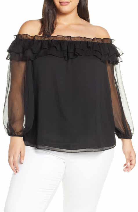 6cc0cad89e5 Vince Camuto Ruffle Off the Shoulder Top (Plus Size). $109.00. Product Image