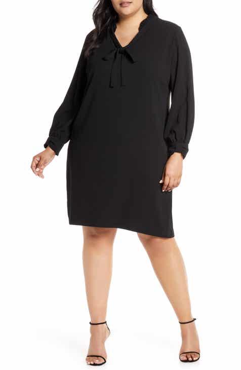 c3cb9c1b7ece CeCe Moss Crepe Ruffle Collar Long Sleeve Shift Dress (Plus Size)