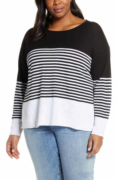 6453b73a6f2 Eileen Fisher Block Stripe Organic Linen   Cotton Sweater (Plus Size)