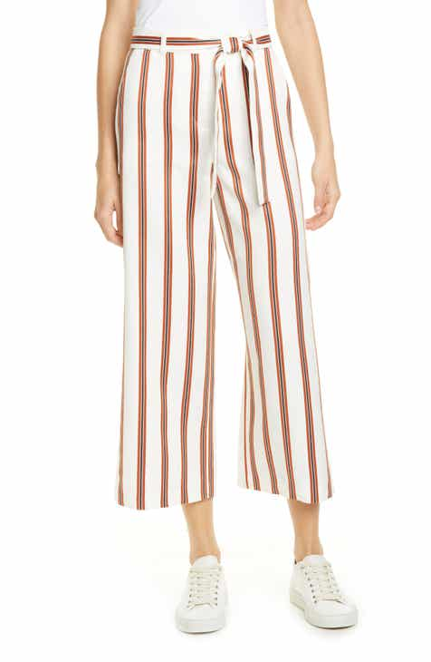 maje Pomala Stripe Tie Waist Wide Leg Crop Pants by MAJE