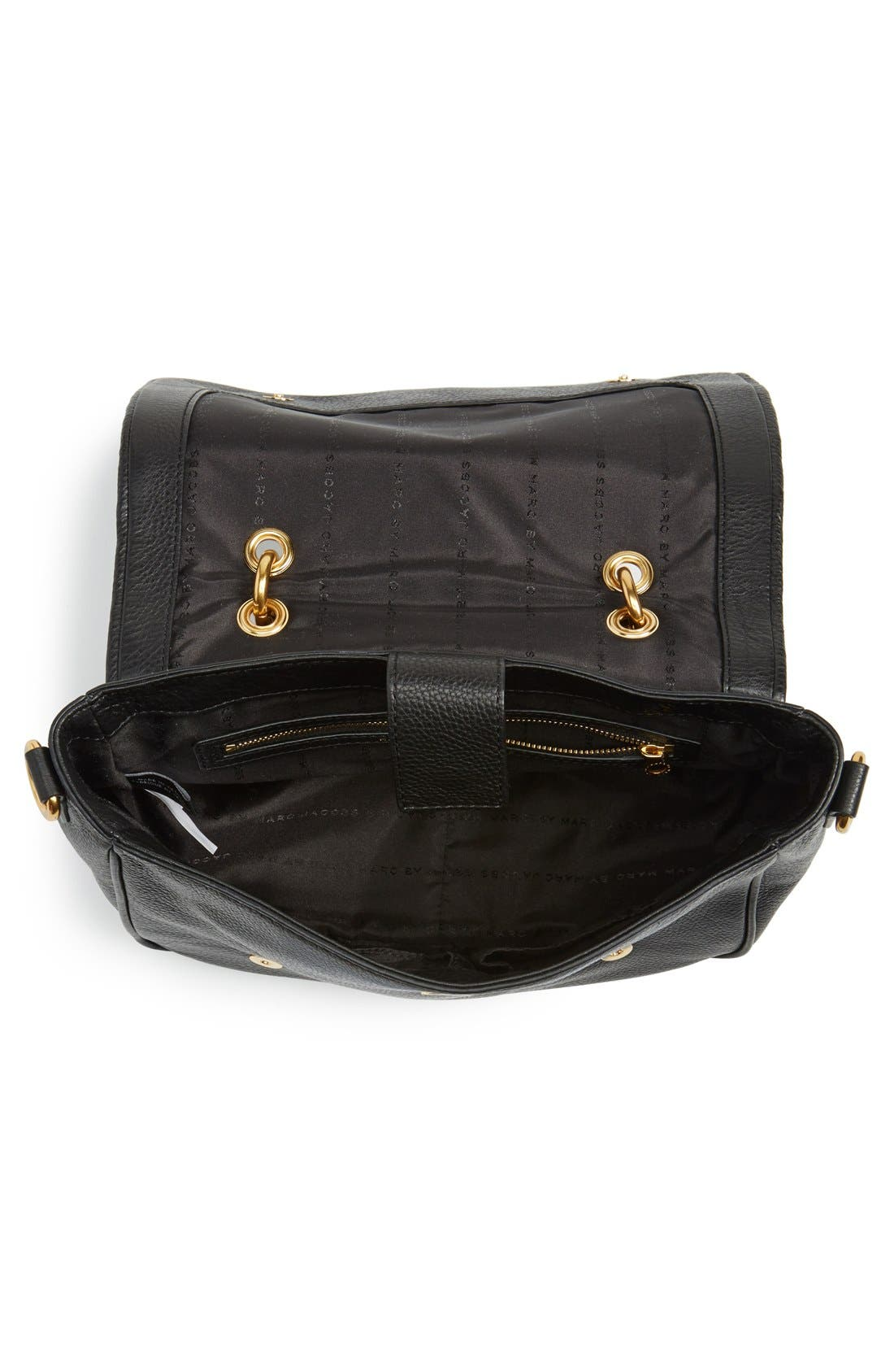 MARC BY MARC JACOBS 'Small Too Hot To Handle' Leather Tote,                             Alternate thumbnail 4, color,                             Black