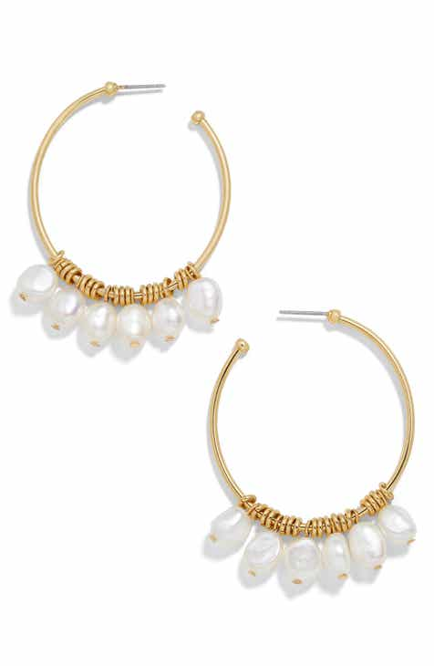 7f5c11712 BaubleBar Marquita Keshi Pearl Hoop Earrings