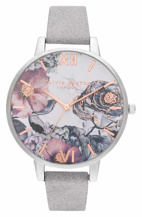 20067175a42d Olivia Burton Floral Leather Strap Watch