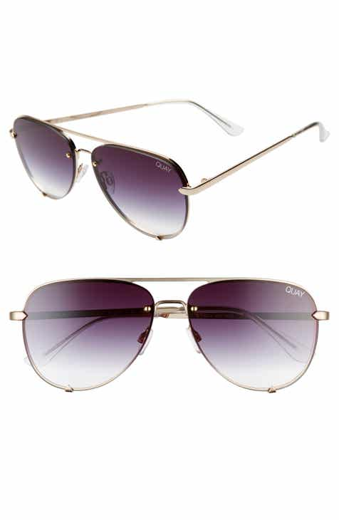 Quay Australia High Key Mini 59mm Rimless Aviator Sunglasses
