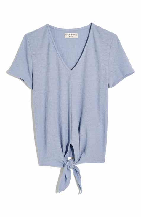 82b2d14cf Madewell Texture & Thread V-Neck Modern Tie-Front Top (Regular & Plus)