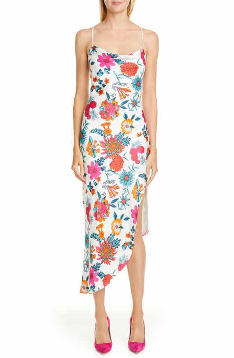 HANEY Goldie Floral Print Asymmetrical Silk Slipdress
